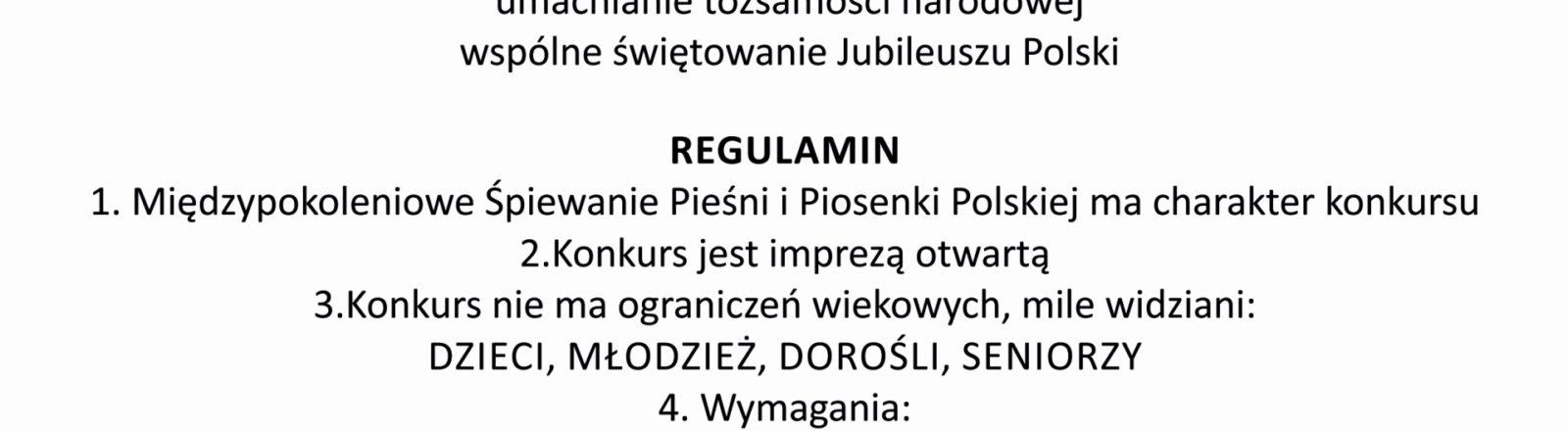 Międzypokoleniowe Śpiewanie Pieśni i Piosenki Polskiej z okazji 100 lecia Odzyskania Niepodległości Polski